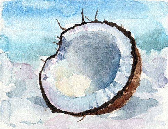 Coconut Watercolor Print Watercolor Painting Minimalist Poster