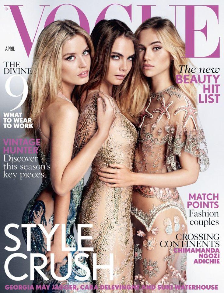 Georgia May Jagger, Cara Delevingne, Suki Waterhouse by Mario Testino for Vogue UK April 2015