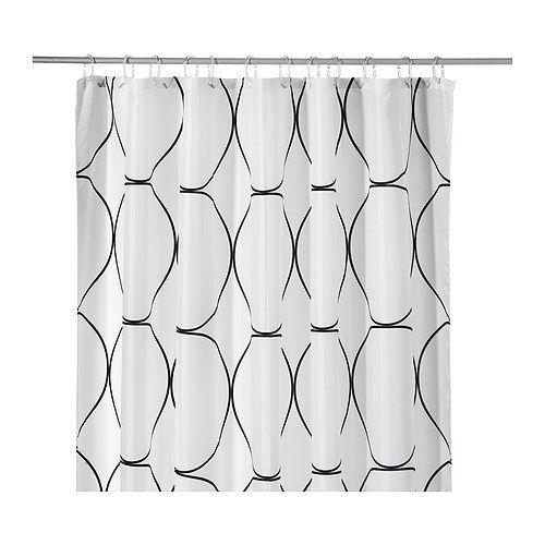 UDDGRUND Duschvorhang IKEA Das in der Unterkante eingenähte Gummiband sorgt durch sein Gewicht dafür, dass der Duschvorhang gerade hängt.