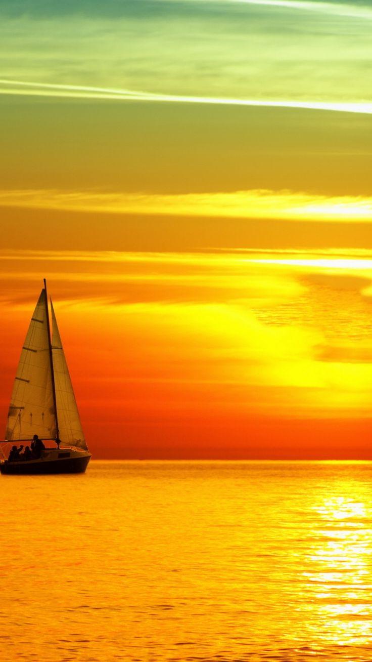 decline, sailing vessel, birds, orange, sun, lunar path, sea, horizon, sky
