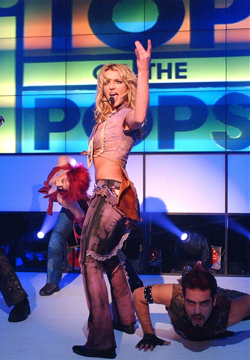 Britney performing on Top Of The Pops in 2002.