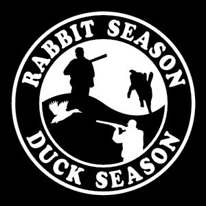 Rabbit & Duck Season, Vinyl Truck Boat Decal VH23 - Wildlife Decal