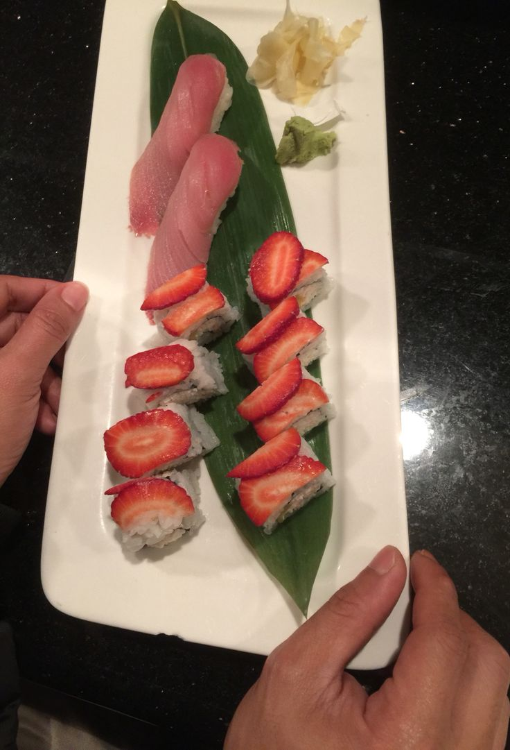 Strawberry roll sushi at Yuki Sushi