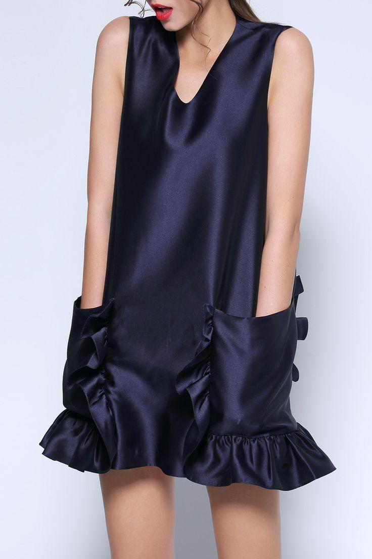 HOYUGO Ruffled Twin Pocket Mini Dress
