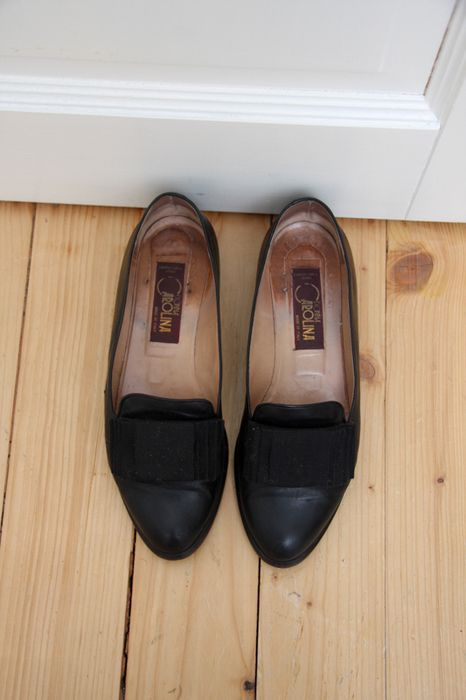 Vintage 39 Leder Loafers Loafer Slipper College Schuhe Flats Ballerinas Schwarz Unikat Italy Berlin