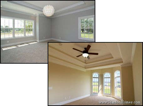 Step trey ceiling. When you want to emphasize the change in depth of your ceiling, a more standard step size may be what you're looking for.