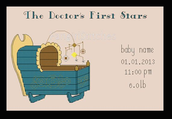Doctor Who Cross Stitch Birth Record Sampler - PDF Pattern - Download INSTANTLY on Etsy, $5.56