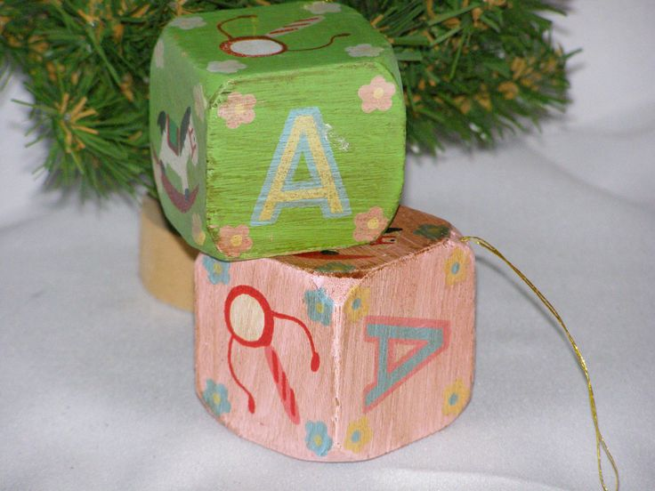 Vintage Wood Christmas or Nursery ABC Blocks Pink and Green Set of Two by parkie2 on Etsy