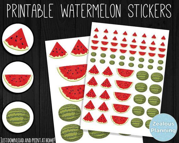 DIY druckbare Wassermelone Aufkleber Instant von ZealousPlanning
