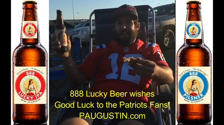 888 Lucky Beer  of Washington DC wishes best of luck to New England Patriots team and great fans at Super Bowl LI. Special thanks to the fans that sample the 888 Lucky IPA at Foxboro Stadium in Massachusetts and offered their great and positive reviews. I thank you and appreciate you ... Go Pats! 21  After many successful and triumphant world  tours in  including at the Foxboro Stadium in Massachusetts to promote the 888 Lucky Beer  of Washington DC many people who are craft beers  lovers…