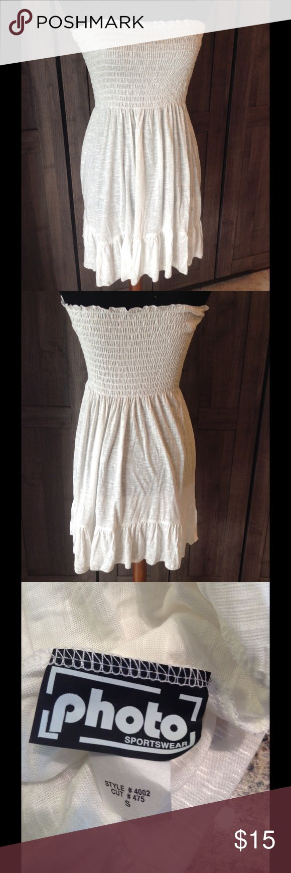 $7 clearance sale! Strapless dress New never worn. Strapless white dress or cover up. Dresses