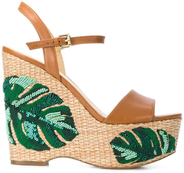ed161e355992 MICHAEL Michael Kors Fisher palm embroidered wedges Tropical Vibes