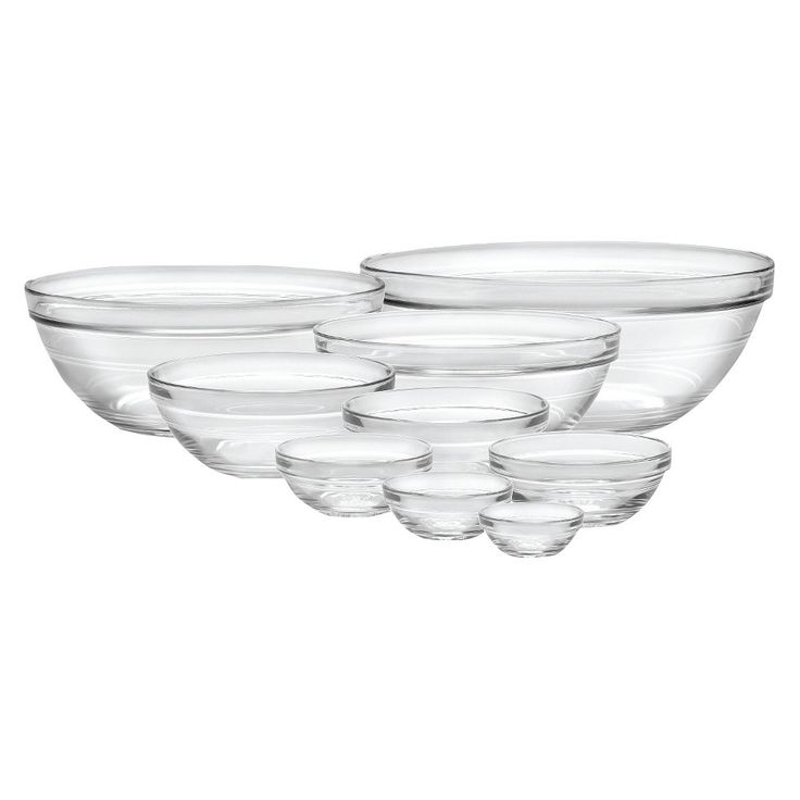 Duralex 9pc Glass Stackable Bowls Clear in 2019