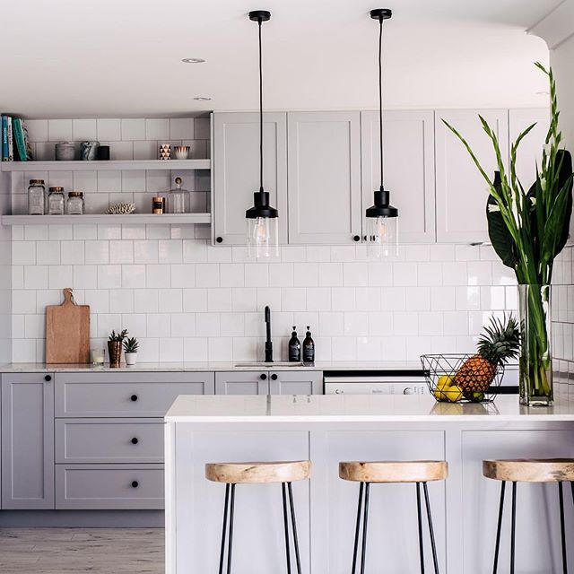 Instagram Analytics Kitchens Pinterest Gray Kitchens Kitchens - Pale grey kitchen cabinets