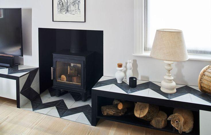 Bespoke Joinery designed by Robinson van Noort - Contemporary Residential Design, London - Barnes, London - Tv unit - Modern fireplace - reclaimed cement tiles - geometric tiles - zig zag pattern