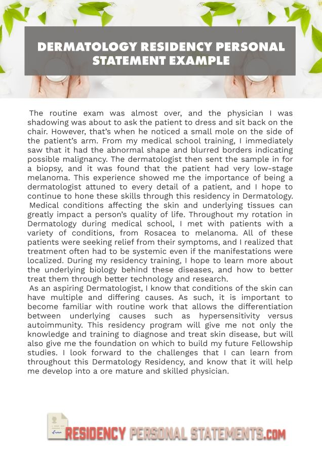 Dermatology Residency Personal Statement Example Tip For