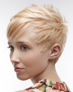 Strawberry blonde pixie cut