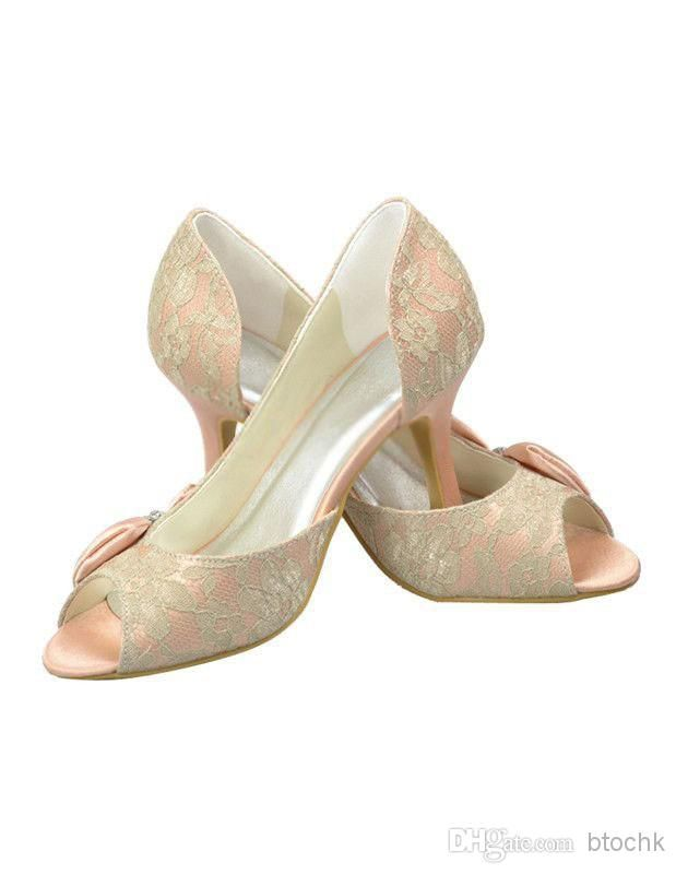 Wholesale Champagne Peep Toe Flower Lace Wedding Shoes buy cheap bridal shoes, Free shipping, $71.2/Piece | DHgate Mobile
