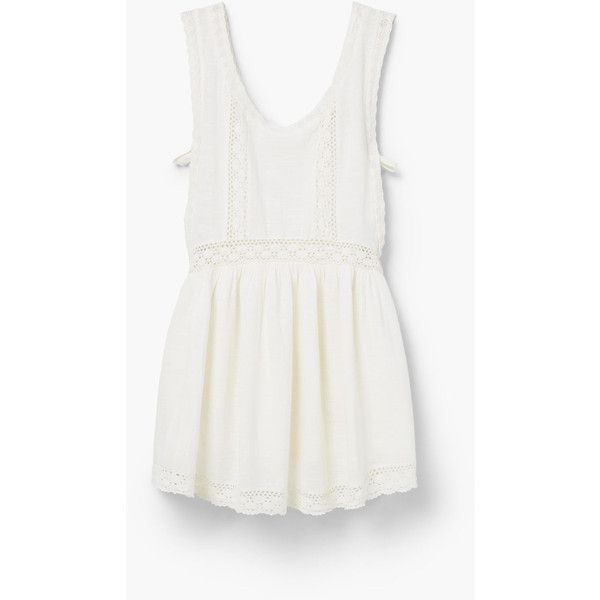 MANGO Embroidered Cotton Dress (155 PLN) via Polyvore featuring dresses, off white, mango dresses, champagne dress, cable knit dress, cotton day dresses i embroidered dress