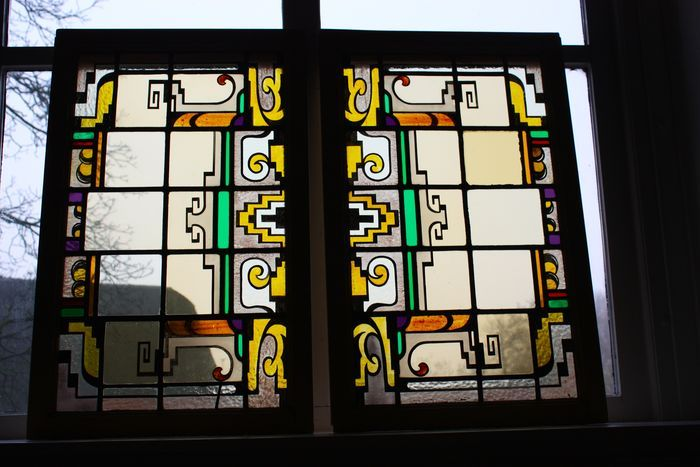 Two stained-glass windows - Amsterdam School