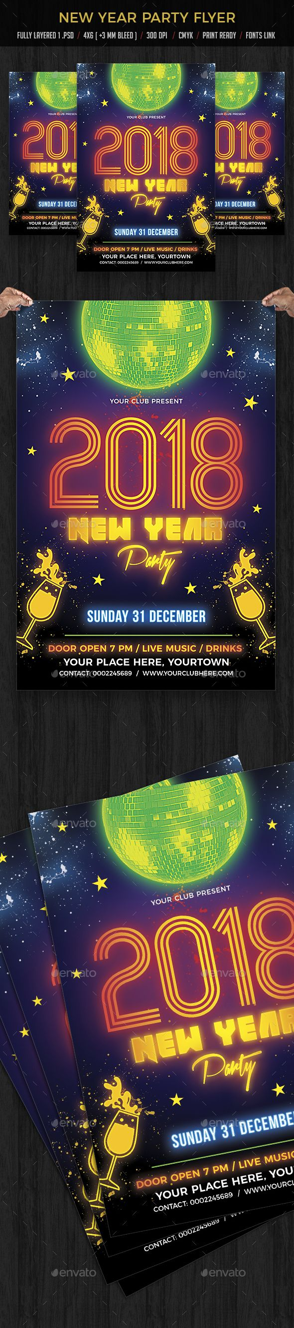 New Year Party — Photoshop PSD #Creativeartx #birthday party • Available here ➝ https://graphicriver.net/item/new-year-party/20858810?ref=pxcr