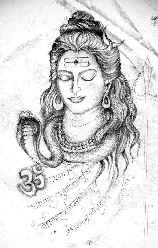 Lord Shiva, Meditation Form by Artist Sandip, with Sanskrit Mahamrutyunjay…