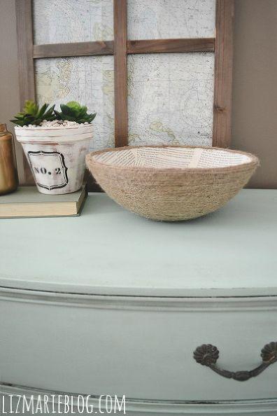 diy book page rope bowl, crafts, design d cor