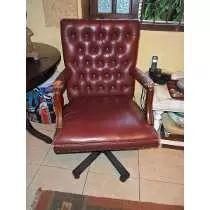 Cadeira De Diretoria - Antiga - Couro
