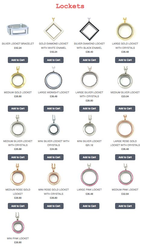 Full range of South Hill Designs Lockets.