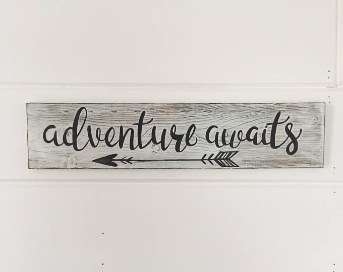 """Hand Painted """"Adventure Awaits"""" Sign / Wanderlust Sign / Nursery Sign / Travel Sign / Explorer Sign / Living Room Decor / Gallery Wall Sign – Home decor"""