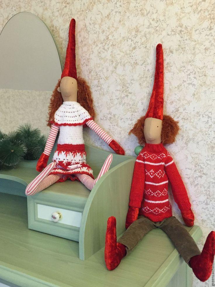 Купить Майлеги. Олаф и Кирстен - ярко-красный, гном, гномы, текстильная кукла, текстильная игрушка