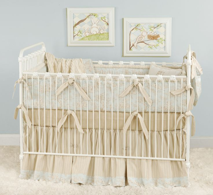 Blue Beige Amp Cream Toile Baby Bedding For A Shabby Chic