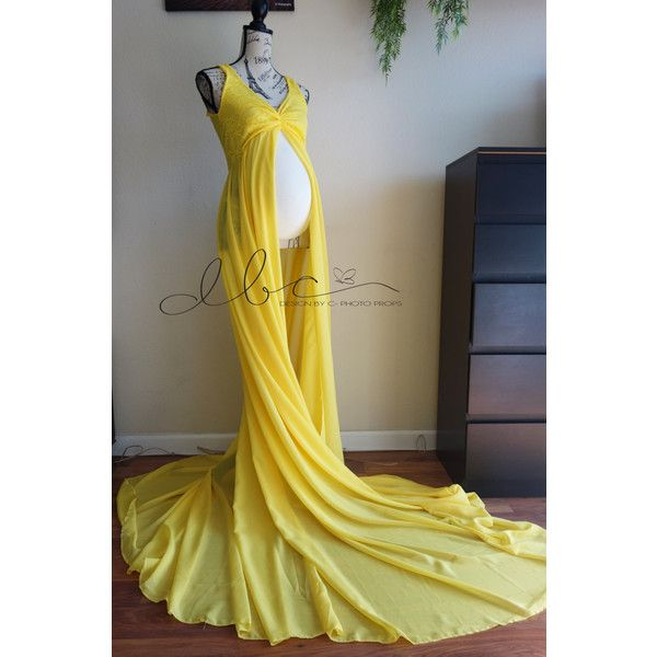 Giselle Yellow lace/chiffon Maternity gown/senior prop/modeling/sheer... ($85) ❤ liked on Polyvore featuring maternity, dresses, black and women's clothing