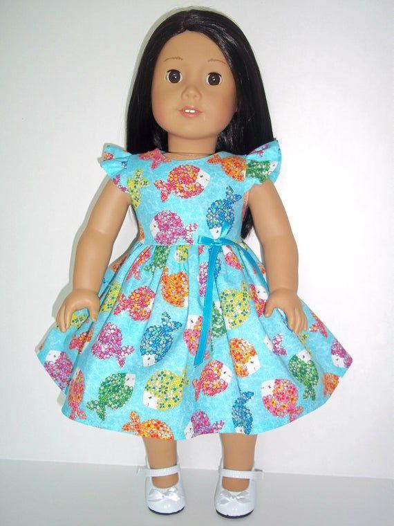 Dark Blue Sea Life Doll Dress Clothes Fits American Girl Dolls
