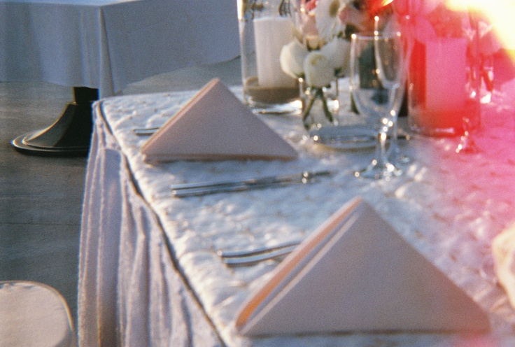 Wedding table details at M + W wedding Pueblo bonito, Cabo San Lucas.  [35mm film photo]