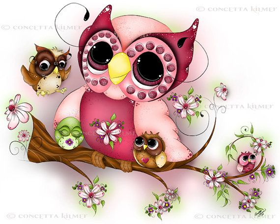 Owl Art Mother's Day Art Baby Owls by enchantedezignstudio