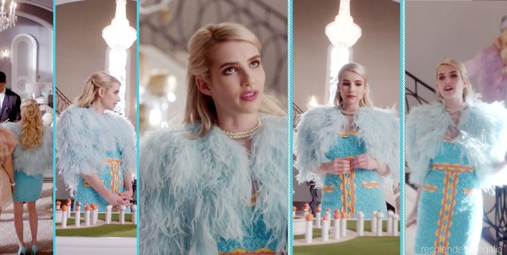 Chanel Oberlin (played by Emma Roberts) in blue Moschino outfit and blue fur coat (from Scream Queens episode 4 - Pumpkin Patch)