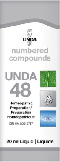 Unda 48 Cellular Degeneration, Female Sterility Unda 48 is indicated for threatened abortion, female sterility, leucorrhea, dysmenorrhea, uterineptosis, libido afflictions in women, puerperal infections, prevention of extrauterine pregnancy, fibroma, in the treatment of osteoporosis, arthrosis (spondylo-arthrosis, hooked osteophytes, tilted hips) and all degenerative conditions.