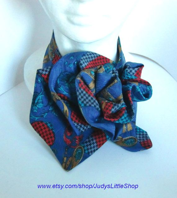Ladies Necktie Scarf Upcycled Silk Neck Piece by JudysLittleShop Silk Neck Scarves Women