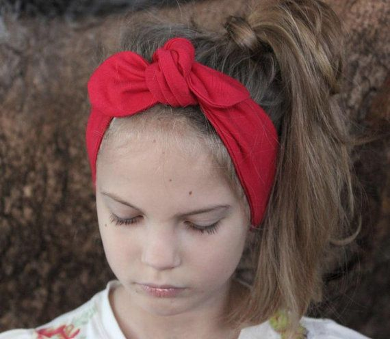 Baby Headband red Cara baby headwrap baby knot by ElleBelleBliss $11.50 AUD