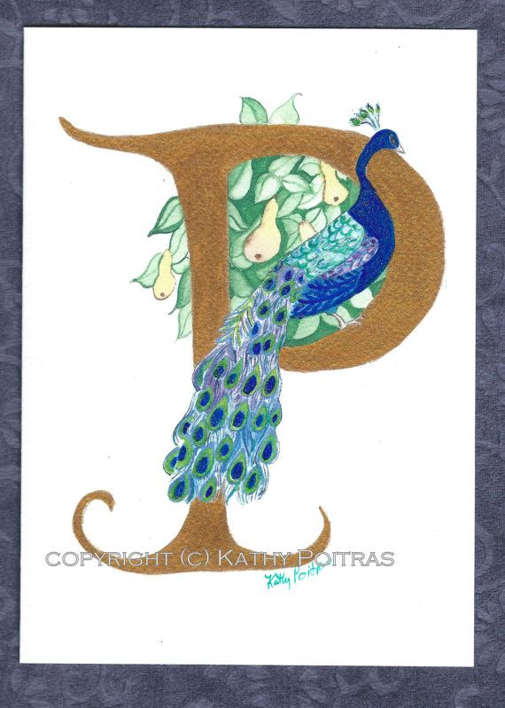 P is for Peacock in a Pear Tree.   personalized by KathyPoitrasArt
