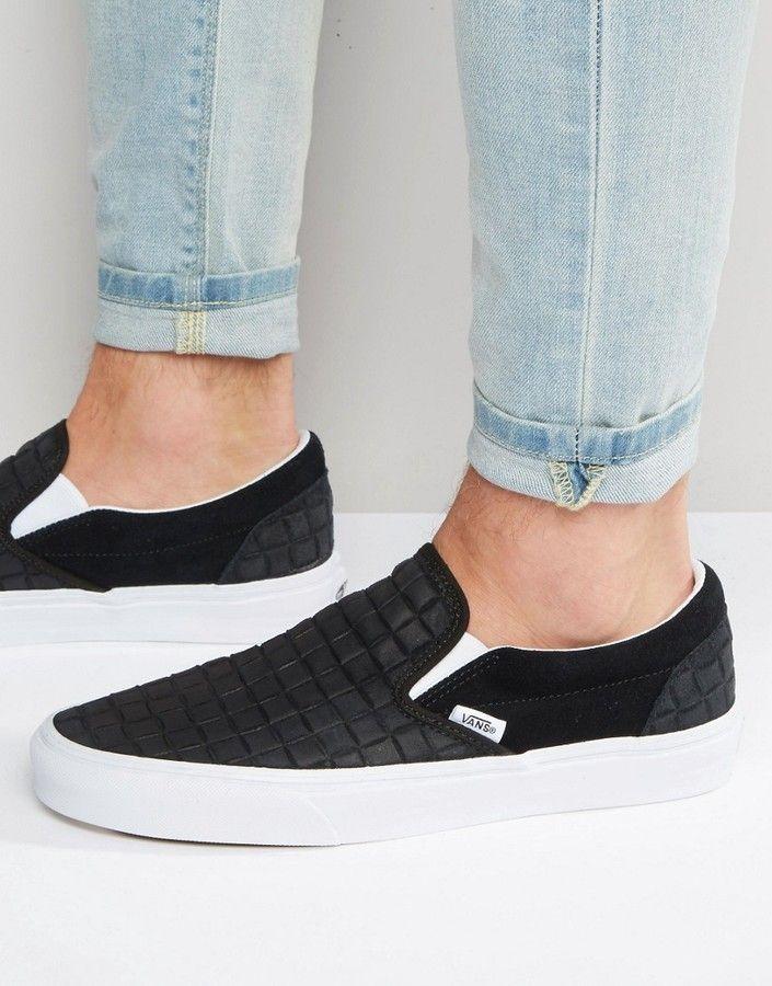 Vans Vans Slip On Checkerboard Leather Sneakers In Black