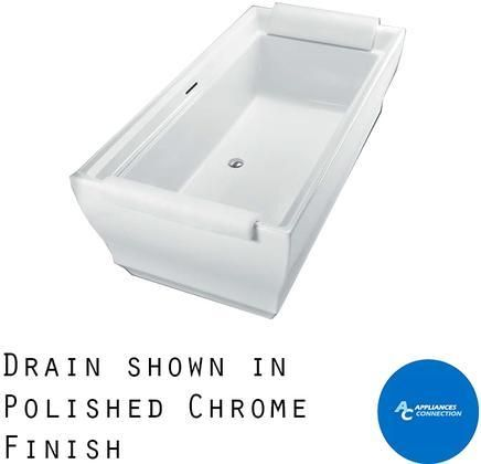 ABF626N#01DCP Aimes Series Freestanding Bathtub with Cast Acrylic Construction Slip-Resistant Surface and Polished Chrome Bath Drain