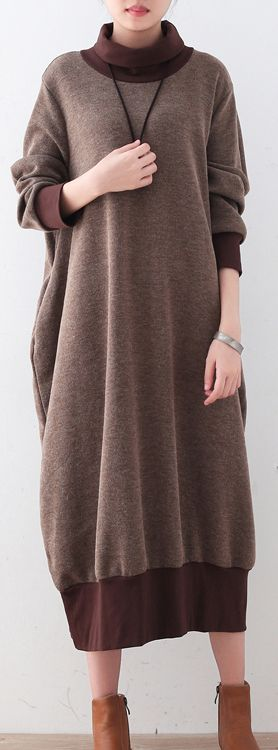 Chunky-brown-sweater-dresses-Loose-pullover-boutique-high-neck-winter-dress-patchwork