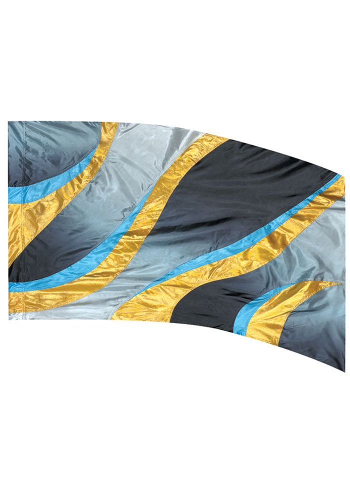 Color Guard flag. ISF125 - Blue Wavey Flame Flag