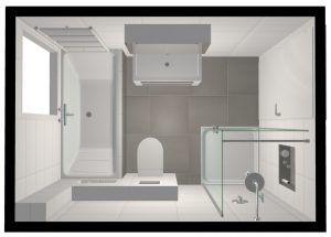 3D tekening badkamer bovenaanzicht
