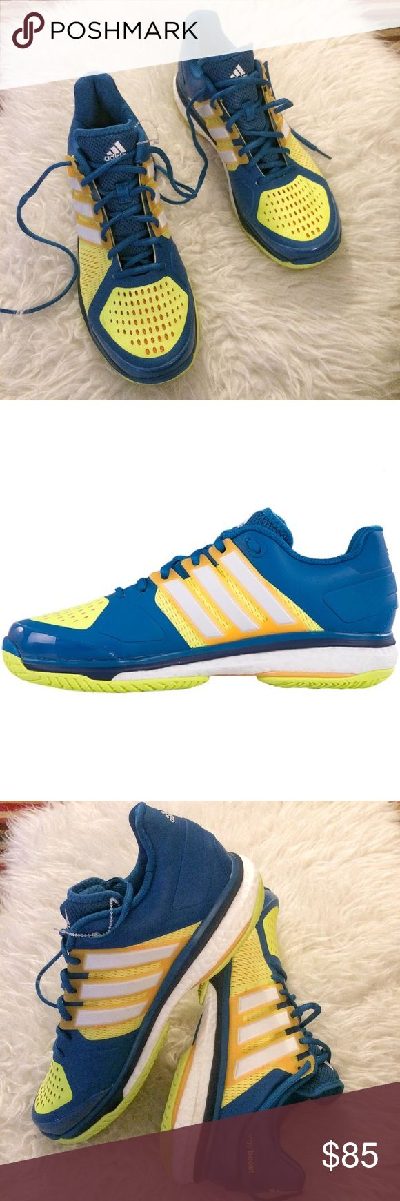 NWT Adidas Energy Boost Men's Tennis Shoe NWOT Adidas Energy Boost Men's Tennis Shoe - Color: Blue / Yellow Size: 10.5.  Code:00a67-17a00 adidas Shoes Athletic Shoes