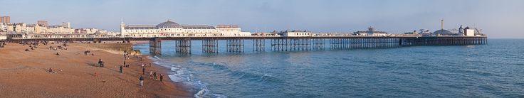 The Brighton Marine Palace and Pier and Brighton Beach, England, UK