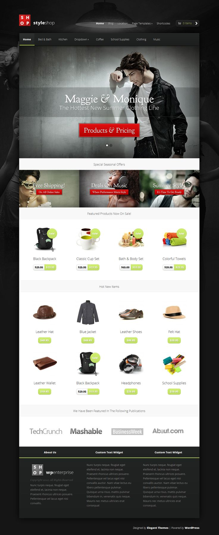 Designed by elegant themes powered by wordpress - Elegantthemes Styleshop Is A Responsive Wordpress Theme For Online Shops Powered By The Woocommerce Engine Featuring Homepage Sections For New And On Sale