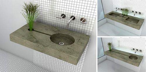 Cuando vi el diseño de este lavaboecológico, realmente me dieron ganas de tener uno, es genial, te lavas las manos y el agua excedente pasa por un surco y alimenta a una planta que...